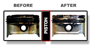 Before and after piston